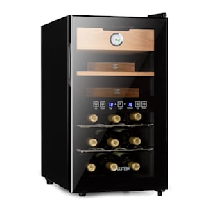 El Dorado Humidor & Weinkühlschrank   Volumen: 48 l   Leistung: 100 W   Temperatur: 13-23 °C   2 Kühlzonen   Glastür   LED-Display   Touch-Bedienfeld   freistehend   Schublade aus  Zedernholz   Hygrometer   LED-Innenlicht   schwarz