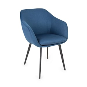 James Upholstered Chair Foam Upholstery Polyester Steel Legs Dark Blue