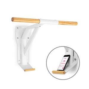 Light Klimmzugstange Stahl Holz Smartphone-Halterung weiß