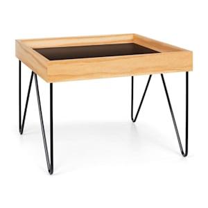 Big Lyon Coffee Table Melamine/MDF with Oak Veneer Steel Frame black