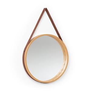 Lynn Wall Mirror 35.5 cm Ø Plywood, Oak Veneer Plastic Strap Wood