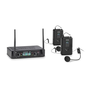 UHF200F-HB 2-Kanal UHF-Funkmikrofon-Set Receiver Handmikro + Transmitter + Headset