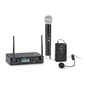 UHF200F-2B Juego de microfonía inalámbrica UHF de 2 canales Receptor 2 transmisores Auriculares