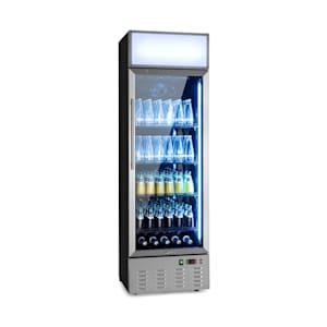 Berghain Pro Getränkekühlschrank   278 Liter   60 x 189 x 58,5 cm (BxHxT)   2-8 °C   Werbefläche   Leuchtaufsatz   abschließbar   Glastür   RGB-Ambiente Innenbeleuchtung   Edelstahl   Flaschenkühlschrank   Gewerbe   Gastro