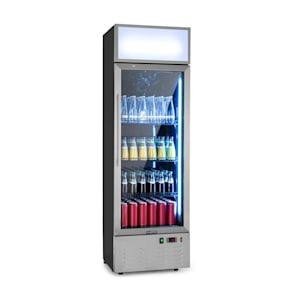Berghain Getränkekühlschrank | 188 Liter | 55 x 176 x 55 cm  (BxHxT) | Temperaturen: 2-8 °C | Werbefläche | abschließbar | Glastür | RGB-Ambiente Innenbeleuchtung | Edelstahl Flaschenkühlschrank | Gewerbe | Gastro