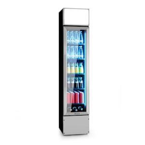 Berghain Pro Getränkekühlschrank   160 Liter   40 x 188 x 49,5 cm (BxHxT) Slim   Temperaturen: 2-8 °C   Werbefläche   abschließbar   Glastür   RGB-Ambiente Innenbeleuchtung   Edelstahl   Flaschenkühlschrank   Gewerbe   Gastro