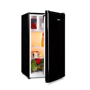 Cool Cousin Kühl-Gefrier-Kombination | Fassungsvermögen: 80 Liter | Kühlschrank: 69 Liter | 3-Sterne-Gefrierfach: 11 Liter | Energieeffizienzklasse A++ | 2 Glasebenen | Crystal Crisper-Fach für Gemüse | 3 Türfächer mit Flaschenfach bis 2 Liter | schwarz