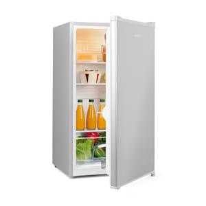 Hudson Kühlschrank | 88 Liter Fassungsvermögen | Energieeffizienzklasse A++ | 3 Glasböden / 2 flexibel | Crisper-Fach für Gemüse | LED-Innenlicht | 3 Türfächer mit Flaschenfach bis 2 Liter | Fronttür mit gebürstetem Edelstahl | grau / silber