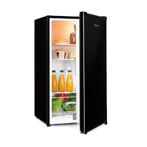 Hudson Kühlschrank | 88 Liter Fassungsvermögen |  Energieeffizienzklasse A++ | 3 Glasböden / 2 flexibel | Crisper-Fach für Gemüse  | LED-Innenlicht |  3 Türfächer mit Flaschenfach bis 2 Liter | Schwarz