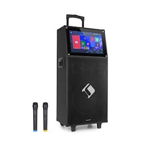 "KTV impianto karaoke 15,4"" display touch 2UHF Mic WiFi BT USB SD HDMI trolley"