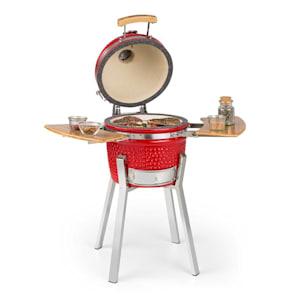 """Princesize Pro, kamado grill, 13 """"(33 cm), hőmérő, oldalelemek, piros"""