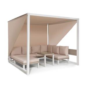 Havana, pavilon & Lounge-Set, 270x230x270cm, 4 dvojsedadlá, bílý