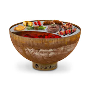Savage Fire Bowl with Grill Ø: 60.5 cm Steel Incl. Weather Protection rust