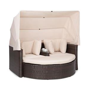 Heartland Sofá lounge de 2 plazas con mesa taburete sombrilla de color crudo