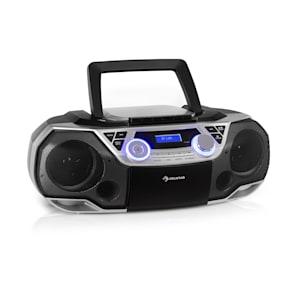 Roadie 2K Boombox CD-Player Kassettenradio DAB/DAB+ UKW Bluetooth silber
