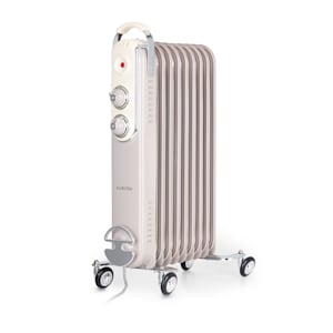 Klarstein Thermaxx Retroheat radiateur à bain d'huile 2000 W roulettes taupe