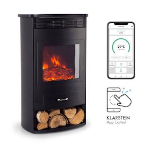 Bormio Smart Elektrokamin   950/1900W   Thermostat   Wochentimer   OpenWindow Detection   App-Steuerung   verschiedene Flammeneffekte   zuschaltbare Heizung   Stauraum für Holzscheite
