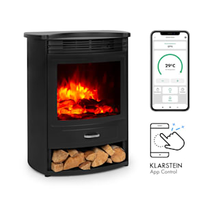 Bormio S Smart, Electric Fireplace, 950 / 1900W, Thermostat, Weekly Timer, Black