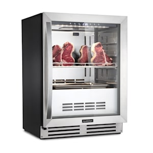 Steakhouse Pro Steak Ager Steak-Reifeschrank   freistehend / Einbau   1 Zone   Volumen: 98 Liter   Kühltemperatur: 1 - 25 °C   Feuchte: 60 - 85 %   weiße LED-Innenbeleuchtung   Touch-Steuerung   UVC-System   Edelstahltür mit Panoramafenster   abschließbar