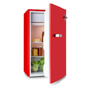 Beercracker 90L, lednice, energetická třída A+, mrazící box, otvírák na láhve, červená
