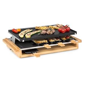 Tournedo Raclette 1200 W fonte d'aluminium 8 personnes décor bois