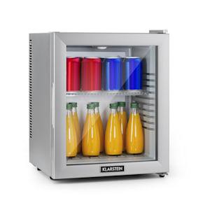 Brooklyn 24 Silver, mini chladnička, energetická trieda A, sklenené dvere, LED, polica, strieborná