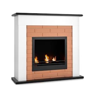 Phantasma Brickline Ethanol-Kamin | Standkamin | 3,4 kW Heizleistung | Sicherheitsbrenner mit Keramikisolierung | 2,5 h Brenndauer | bis 30 m² | geruchsneutral | Sicherheitsglas | Brennkammer mit Löschhilfe | MDF | Backstein-Optik