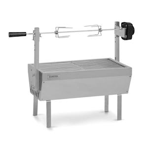 Sauenland Mini Rotisserie-Grill | Drehspieß | Elektromotor: 4 Watt | max. Beladung: 12 kg | höhenverstellbar | Grillrost, Grillwanne, Drehspieß und Standbeine aus Edelstahl | neues Standbein-Design für noch besseren Halt
