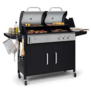 Kingsville barbecue combiné gaz + charbon 8,1 kW 2+1 Brûleurs réglables en hauteur