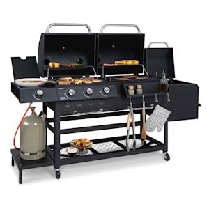 Kingsville smoker barbecue combiné gaz charbon fumoir 13,5 kW 3+1 Brûleurs