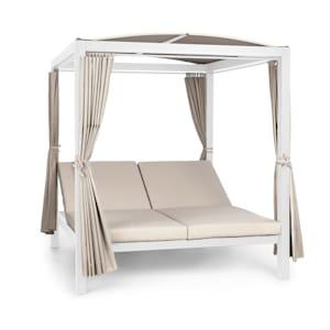 Eremitage Double XL Sunbed 2 Pers Stahl-Rahmen Sonnendach Vorhänge