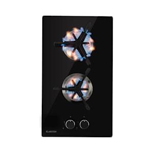Trifecta Domino Gaskochfeld | 2-flammig | autark | 30 cm | Einbau | Triangle-Brenner | Erdgas/Propangas | Sicherheitsventile | automatische Abschaltung | Gusseisen | Glaskeramik Ø 6 mm
