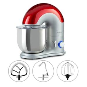 Delfino Küchenmaschine Rührmaschine | 1800 Watt | 6 Leistungsstufen | Pulsfunktion | Planetarisches Rührsystem | 7 l Edelstahlschüssel | Rühr- & Knethaken sowie Schneebesen | Kunststoff | Aluminium-Druckguss | Edelstahl | Drehregler | Spritzschutz