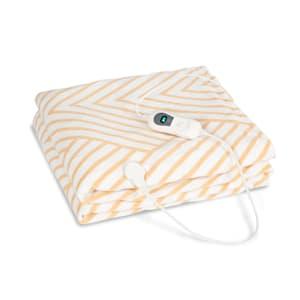 Dr. Watson XXL, vyhřívací deka, 120 W, 200 x 180 cm, coral fleece, béžová, pruhy