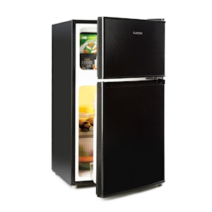 Big Daddy Cool Kühl-Gefrier-Kombination | Fassungsvermögen: 87 Liter | Kühlschrank: 61 Liter | Gefrierschrank: 26 Liter | Energieeffizienzklasse A+ | 2 Ebenen | Freezer-on-Top | Crisper-Fach für Gemüse | Flaschenfach bis 2 Liter | schwarz
