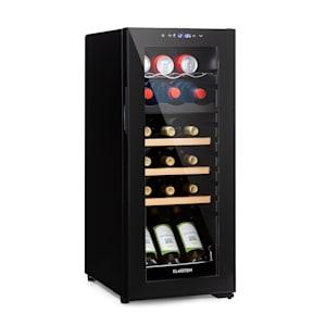 Bodega 18 Duo+ Vinkylskåp dryckeskylskåp | 50 liter | 18 flaskor | glasdörr | 2 kylzoner: båda med en temperatur på 5 - 18 °C |  3 träinsatser / 1 metallinsats | anti-vibration | touch-kontrollpanel | EK: G