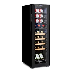 Bodega 27 Duo+ Vinkylskåp dryckeskylskåp | 74 liter | 27 flaskor |  glasdörr | 2 kylzoner: båda med en temperatur på 5 - 18 °C | 4 träinsatser / 3 metallinsatser | anti-vibration |  touch-kontrollpanel | EK: G
