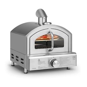 Pizzaiolo Neo Gas-Pizzaofen Pizza-Backofen Pizzaofen | inkl. Pizzastein 33 cm (Ø) und Grillrost | Thermometer | Edelstahl | Butan- und Propangas-Flaschen bis 15 kg | Sichtfenster | Tropfblech | inkl. Druckminderer und Schlauch