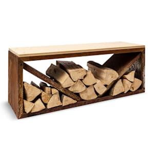 Firebowl Kindlewood L, Rust Wood Storage, Bench, 104x40x35cm, Bamboo, Zinc