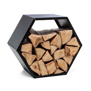 Firebowl Hexawood Black Rangement bois forme hexagonale 50.2x58x32cm