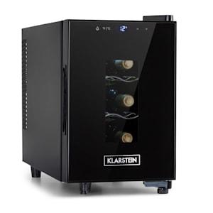 Bellevin 6 Uno Weinkühlschrank | 17 Liter / 6 Flaschen | Temperatur:  11-18 °C | Geräuscharm: 26 dB | 3 Metallregalebenen | LED-Beleuchtung | UV-Schutz | Weinkühler |  Klein | Freistehend / Counter Top