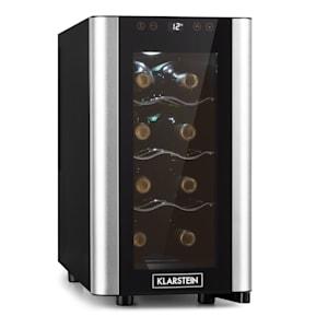 Reserva 8 Slim Uno Vinkylskåp | 23 liter | 8 flaskor | temperatur: 11-18 °C | 70 watt | tystlåtet: 26 dB | 3 metallhyllor | LED-belysning | touch | UV-skydd | vinkylare | smalt | fristående | ädelstål