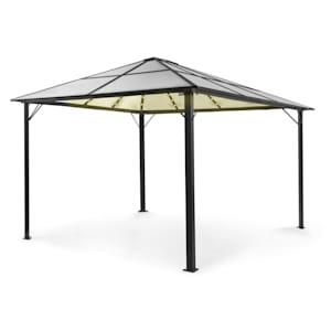 Pantheon Solid Sky Ambient Solar Pavillon mit Dach 3x4m Polycarbonat Aluminium beleuchtet
