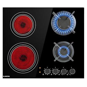 MultiChef 4 Kombi-Gaskochfeld | Gas und Glaskeramik | 58,5 cm Breite | autark |  4 Zonen: 2 x Gas 2 x Glaskeramik |  Leistung: 6,4 kW | Einbau | Drehknöpfe | 9 Leistungsstufen | Rahmenlos | 2 Kreuze aus Gusseisen | inkl. NG/LFG Düse