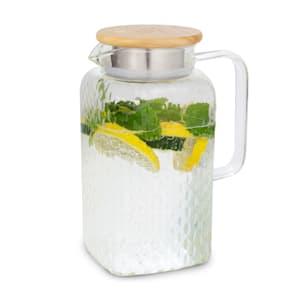 Glaswerk Livenza Wasserkrug Glaskaraffe Glaskrug mit Deckel Wasserkaraffe   Volumen: 1,5 Liter   Deckel aus Eichenholz   Borosilikatglas   Edelstahlsieb
