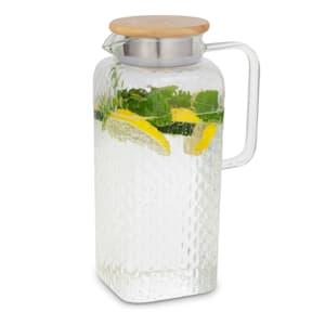 Glaswerk Livenza Wasserkrug Glaskaraffe Glaskrug mit Deckel Wasserkaraffe   Volumen: 1,9 Liter   Deckel aus Eichenholz   Borosilikatglas   Edelstahlsieb