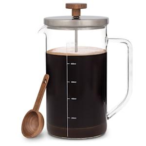 Ristretto cafetière à piston 1 litre verre borosilicaté acier inoxydable bois de noyer