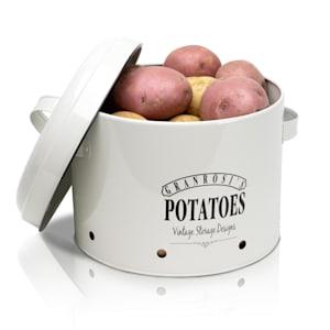 Idaho, dóza na brambory, smaltovaný ocelový plech, cca 27 × 21 × 23,5 cm (Š × V × H), nerezavějící, smaltovaný ocelový plech, cca 27 × 21 × 23,5 cm (Š × V × H), nerezavějící