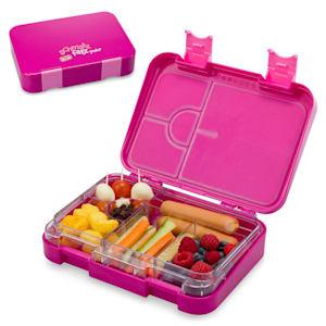 schmatzfatz junior Lunchbox Brotdose Vesperbox | mit Zusatzbehälter  | kinderfreundlich | abgedichtet | 4 oder 6 kleine Fächer | für Flüssignahrung |  21,3 x 15 x 4,5 cm (BxHxT) | spülmaschinenfest | BPA-frei | Kunststoff