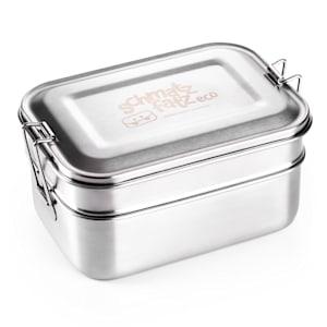 schmatzfatz eco, ebéd doboz, 2 az 1-ben, 1200 ml, 18 x 12,5 x 9 cm (SZ x M x M), rozsdamentes acél